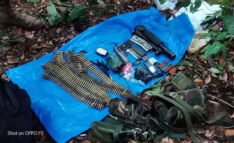 MINDORO. The military said they recovered firearms and ammunition from a New People's Army encampment after a shootout with the rebels on June 13, 2019 in Oriental Mindoro. (AFP Photo)