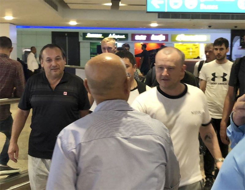 Mariners from the MT Front Altair arrive at Dubai International Airport in Dubai, United Arab Emirates, on Saturday, June 15, 2019, after spending two days in Iran. Associated Press journalists saw the crew members of the MT Front Altair on Saturday night after their Iran Air flight from Bandar Abbas, Iran, landed in Dubai in the United Arab Emirates. The Norwegian-owned oil tanker was attacked Thursday, June 13 in the Gulf of Oman. The U.S. has accused Iran of attacking the Front Altair and another oil tanker with limpet mines. Iran has denied the allegations. (AP)