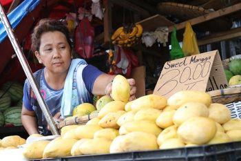 DAVAO. Miubos ang presyo sa mangga gikan sa P110 ang kilo, karon P60 nalang subay sa pagdaghan sa suplay niini nga maoy hinungdan sa pag-ubos sa presyo didto sa Bankerohan Public Market, siyudad sa Davao, Dominggo, Hunyo 16. (Hulagway kuha ni Mark Perandos)