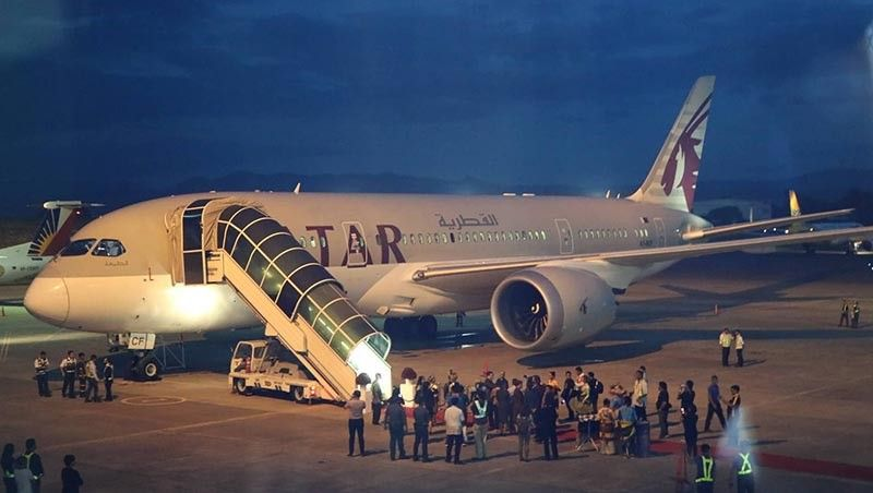 DAVAO. The Qatar Airways has launched its Doha-Davao route with the inaugural flight that carried 133 passengers landing at the Davao airport around 6 p.m. Tuesday, June 18, 2019. (Ace June Rell S. Perez)