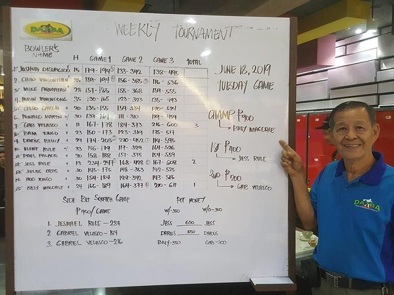 "DAVAO. Optometrist Virgilio ""Billy"" Magdale strikes anew after topping the Datba weekly singles tournament Tuesday evening, June 18, 2019 at SM Lanang Premier Bowling Center. He also won weekly titles recently. (Jesrael Rule Facebook)"