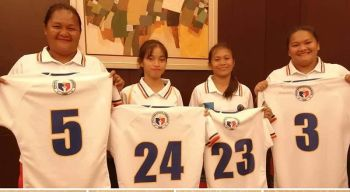 LADY VOLCANOES. From left, Catherine Francisco, Diana Cosare, Agot Danton, and Nova Belle Tega show off their Philippine Lady Volcanoes uniforms. (Davao Durians Rugby Football Club Facebook)