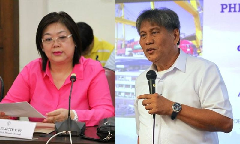 CAGAYAN DE ORO. Misamis Oriental Representative Juliette Uy and Phividec Industrial Authority administrator Franklin Quijano. (Photos from Uy's Facebook page and Philippine Information Agency)