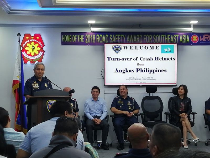 MANILA. Photos during the turnover of the helmets donated by Angkas to Highway Patrol Group of the Philippine National Police. (Third Anne Peralta-Malonzo)