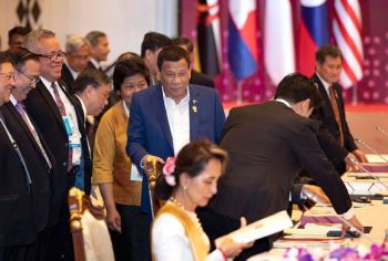 THAILAND. President Rodrigo Duterte (center) walks in to participate in the Association of Southeast Asian Nations (Asean) leaders summit plenary session in Bangkok, Thailand, Saturday, June 22, 2019. (AP)