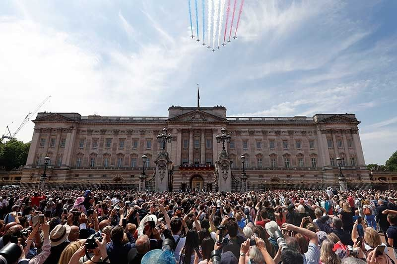 In this Saturday, June 9, 2018 file photo, Red Arrows fly over Buckingham Palace to attend the annual Trooping the Colour Ceremony in London. (AP File)