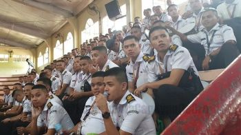 CAGAYAN DE ORO. Maritime students in Capitol University eagerly listen to guests and other participants in a forum, which was held as part of the celebration of Seafarers Day. (Kris Sialana/Superbalita Cagayan de Oro)