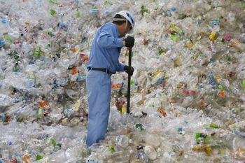 JAPAN. In this June 18, 2019, photo, a plastic recycling company worker sorts out plastic bottles collected for processing at Tokyo Petbottle Recycle Co., Ltd, in Tokyo. (AP)