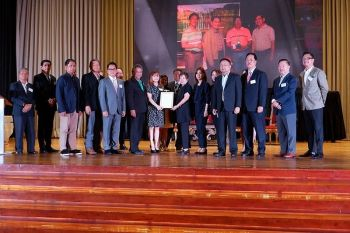 PAMPANGA. PamCham, Maccii and Cila officials present the posthumous resolutions of recognition for PamCham Chairman Levy P. Laus to the Laus family led by matriarch Tess Laus during PamCham's 63rd GMM at the LausGroup Event Centre on Tuesday, June 25, 2019. (Jovi T. De Leon)  onerror=