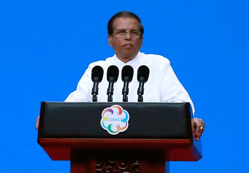 SRI LANKA. In this May 15, 2019, file photo, Sri Lanka President Maithripala Sirisena delivers a speech during the opening ceremony of the Conference on Dialogue of Asian Civilizations in Beijing, China. (AP)