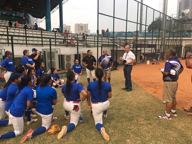 SUPPORT. Cebuana Lhuillier president and chief executive officer Jean Henri Lhuillier (right) talks to the PHL Blu Girls before their departure for the US. (Contributed photo)