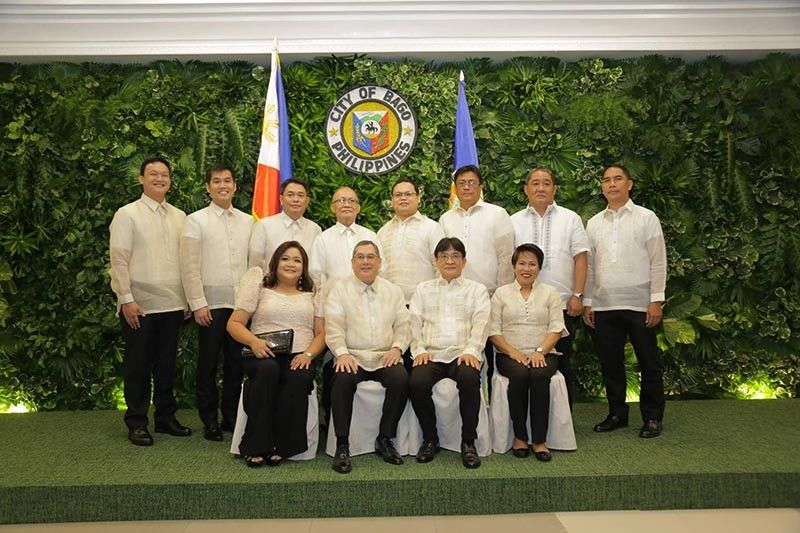 (Seated from left) The new set of Bago City officials pose after their inauguration and oath-taking. Councilor Marina Javellana-Yao, Mayor Nicholas Yulo, Vice Mayor Ramon Torres, and Councilor Ma. Femmy Martir. (Standing from left) Councilors Michael Victor Javellana, Andrew Martin Torres, Joseph Colmenares, Ruben Balboa, Cleo Gaudite, Danilo Famoso, Jorge Augustine Araneta, and Mark Jozsef Dexter Somcio (Contributed photo)