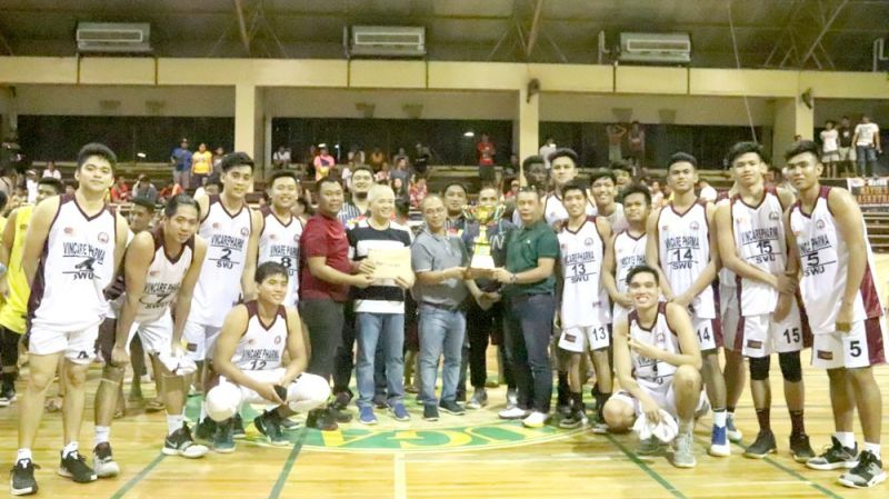 SECOND PLACE. Members of the SWU Cobras and their coaching staff receive their trophy and cash prize after finishing second in the Mayor's Cup Invitational Basketball Tournament 2019 in Bayugan City, Agusan del Sur.  (Contributed foto)