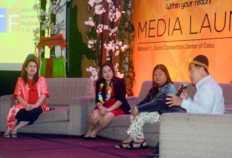 TRAVEL NOW. From left, Cathay Pacific district sales and marketing manager Hazel Tagimacruz, Department of Tourism 7 tourism development division chief operations officer Gelena Asis, MyEventology general manager Stephanie Villahermosa and Philippine Airlines assistant senior vice president for sales Harry Inoferio invite Cebuanos to visit the 6th International Travel Festival on July 12 to 14, 2019 in Ayala Center Cebu. (SUNSTAR FOTO / ARNI ACLAO)