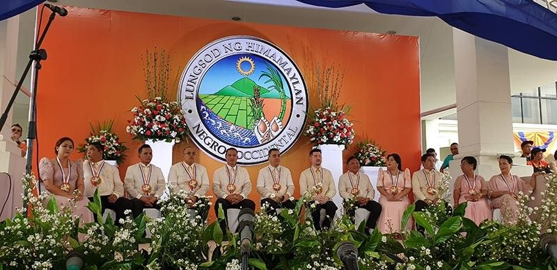 NEGROS. The Himamaylan City officials seated on stage. (Contributed photo)