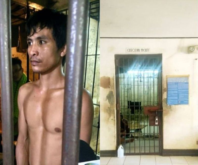 CEBU. Ramises Torrejos, 33 (left), can only expressed regret after he was arrested by police officers after he attempted escape from the local police's stockades (right) in Talisay City on Thursday morning, July 4, 2019. (Fe Marie Dumaboc of Superbalita Cebu)