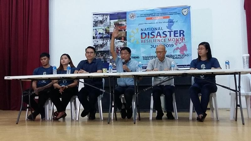 PAMPANGA. Mayor Edwin Santiago gestures as he explains what the City Government of San Fernando is doing in creating resilient communities during the press conference for the observance of National Disaster Resilience Month at Heroes Hall Thursday, July 4, 2019. With him are CDRRMO officials led by Raymond Del Rosario and Vice Mayor Jimmy Lazatin. (Jovi T. De Leon)