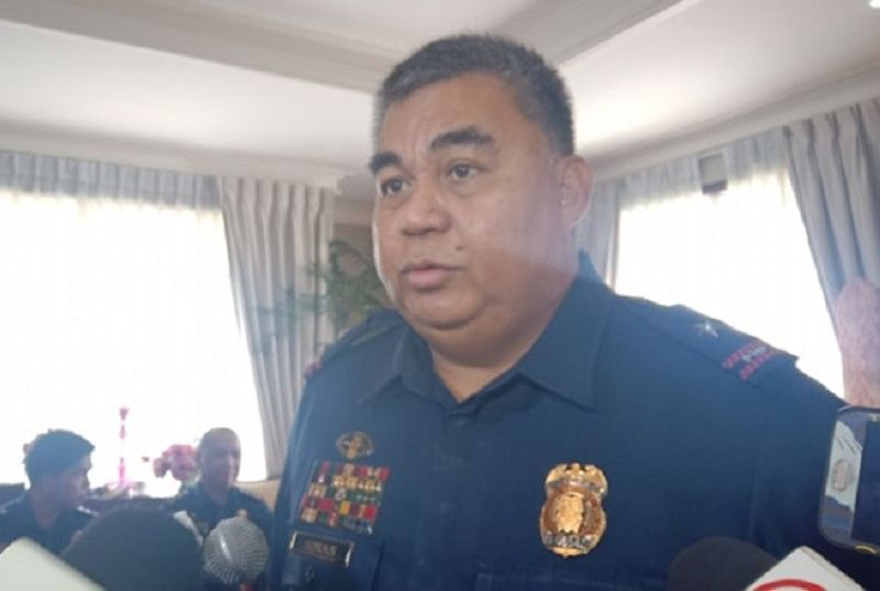 """CEBU. Police Brigadier General Debold Sinas, during his visit to Talisay City Mayor Gerald Anthony """"Samsam"""" Gullas Jr. Friday, July 5, 2019, said the city needed a leveling up in terms of peace and order enforcement. (Photo by Wenilyn B. Sabalo)"""