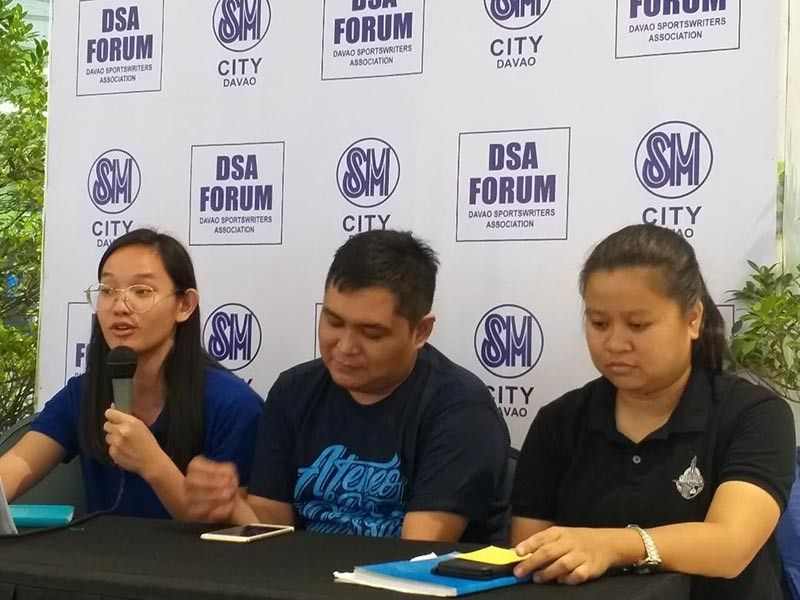 LIMITED SLOTS. Ateneo de Davao University junior high school sports coordinator Mary Baang, left, bares during Thursday's Davao Sportswriters Association (DSA) Forum at The Annex of SM City Davao, that slots are limited to the upcoming 1st Addu Volleyball Coaches Forum. (Marianne L. Saberon-Abalayan)