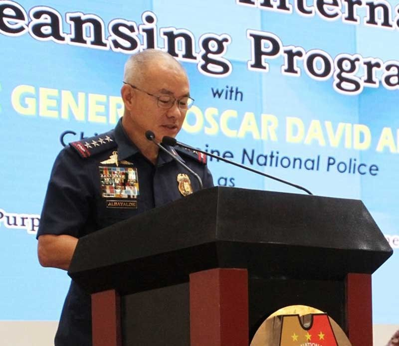 MANILA. Philippine National Police Chief Oscar Albayalde speaks during the launching of the new internal cleansing program on July 9, 2019. (Photo from PNP Facebook)