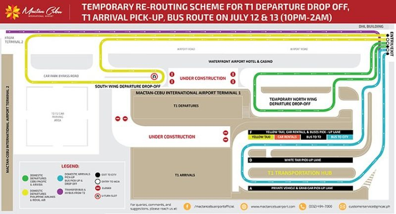Terminal 1 re-routing scheme map