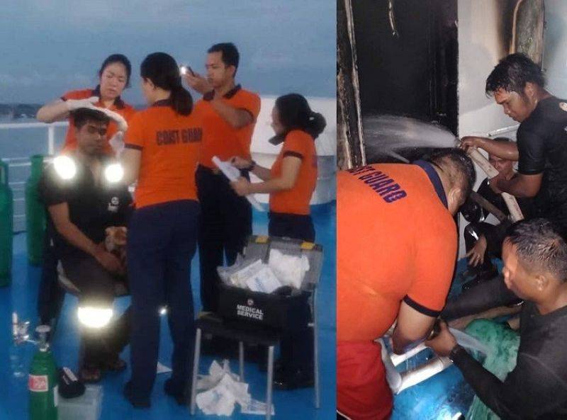 CEBU. Apprentice Mate Green Ligit was hurt after passenger vessel m/v Trans Asia 1 caught fire. (Contributed photos)