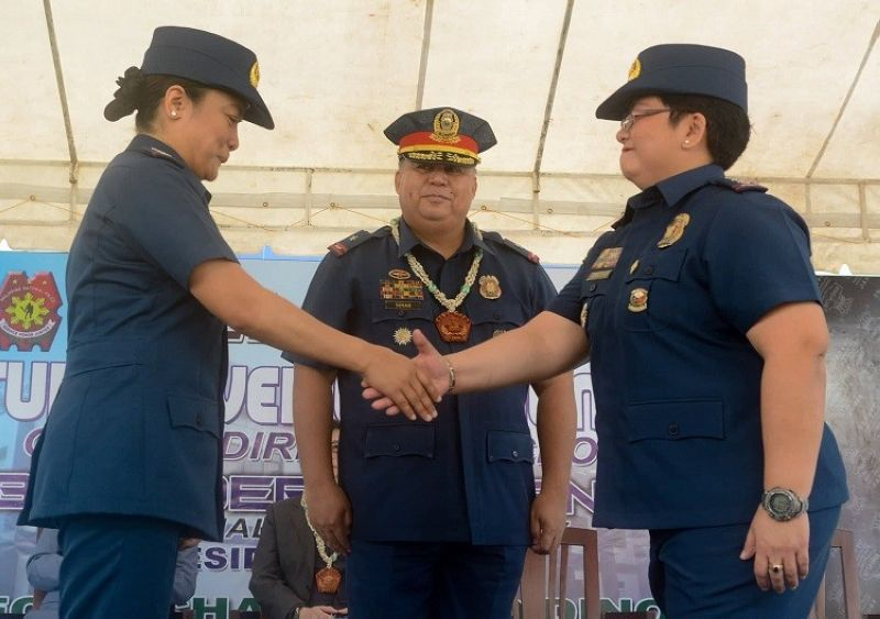 CEBU. Police Colonel Royina Garma, newly-installed Cebu City Police Office (CCPO) Director Police Colonel Gemma Vinluan, and Police Brigadier General Debold Sinas at the turnover of office ceremony.  (Photo by Arni Aclao)