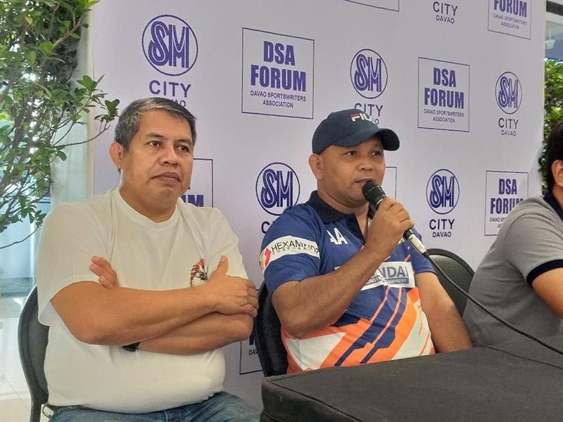 DAVAO. DRFA-Hexamindz head coach Alex Adolfo (right), during Thursday's Davao Sportswriters Association Forum at The Annex of SM City Davao, says the team is ready to play against Ilnosurfa on Saturday, July 13, in the PFF U15 Boys National Championship 2019 at the Davao City-UP Sports Complex. Team manager Garry Sanoria is beside him. (Marianne Saberon-Abalayan)