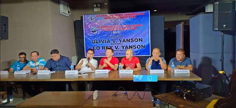 BACOLOD. Leaders and representatives of employees' unions of transport giant Vallacar Transit Inc. in a press conference at Delicioso Restaurant in Bacolod City Thursday, July 11, 2019. (Photo by Teresa D. Ellera)