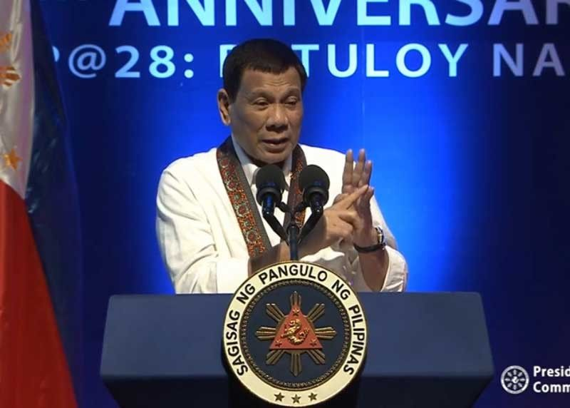 MANILA. President Rodrigo Duterte veers away from his prepared speech at the 28th anniversary celebration of the Bureau of Jail Management and Penology in Quezon City on July 12, 2019. (Photo grabbed from RTVM video)