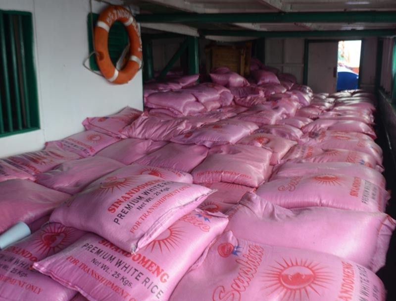 ZAMBOANGA. Some P12 million worth of smuggled rice shipment was intercepted by the Navy while conducting maritime security patrol Friday, July 12, near Lampinigan Island, Basilan province. (Contributed photo)