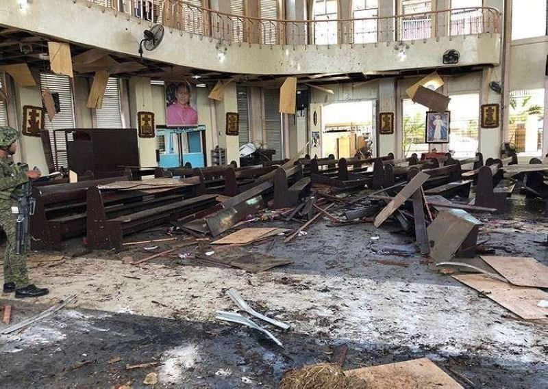 SULU. Part of the Our Lady of Mt. Carmel Cathedral in Jolo, Sulu was destroyed in a twin bombing incident on January 27, 2019. (File Photo)
