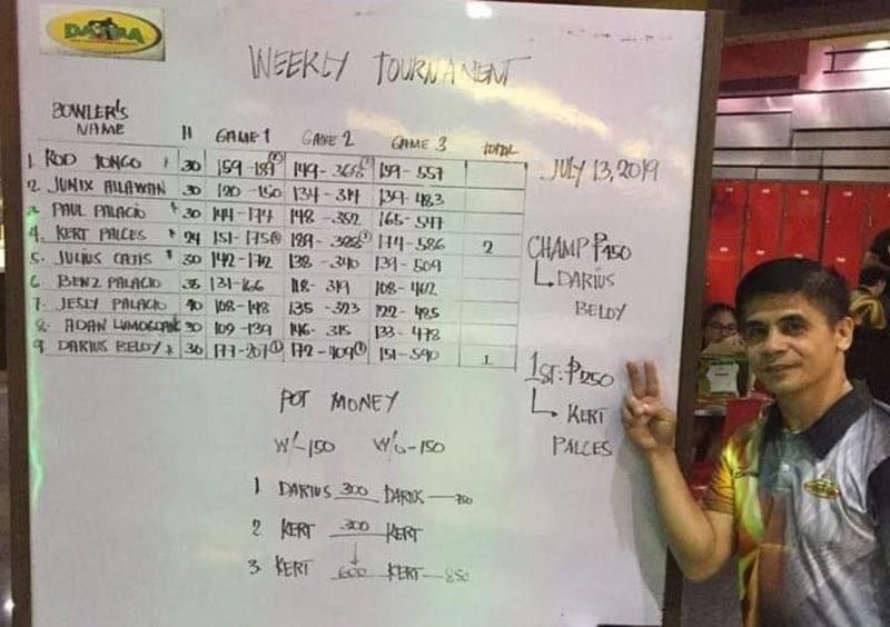 DAVAO. Darius Beloy wins his second straight title in the resumption of the Datba Weekly Singles Tournament held Saturday, July 13, at the SM Lanang Premier Bowling Center. (Jesrael Rule Facebook)