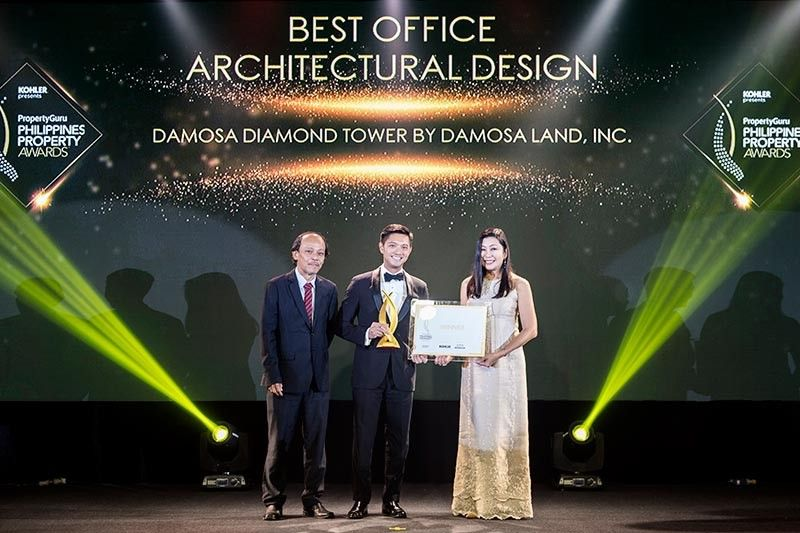 DAVAO. Damosa Diamond Tower bags the prestigious Philippines Property Awards 2019 for Best Office Architectural Design. Ricardo F. Lagdameo, first vice president for Damosa Land, Inc., receives the award with Architect Cathy S. Saldaña, managing director of PDP Architects, the design consultant firm for Damosa Diamond Tower. (Damosa Land Inc. Photo)