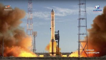 In this frame grab taken from video on Saturday, July 13, 2019, and distributed by Roscosmos Space Agency Press Service, a Russian Proton-M rocket takes off from the launch pad at Russia's space facility in Baikonur, Kazakhstan. A Russian Proton-M rocket successfully delivered a cutting-edge space telescope into orbit Saturday after days of launch delays, Russia's space agency said. (AP)