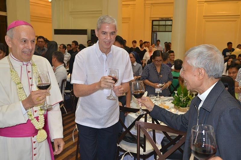 His Grace, Archbishop Gabriele Giordano Caccia, Gov. Bong Lacson, and Bishop Patricio Buzon lead the ceremonial toast during the welcome dinner. (Contributed photo)