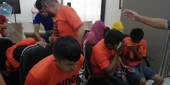 CAGAYAN DE ORO. The robbery extortion suspects presented to the media by the Criminal Investigation and Detection Group in a press conference Monday, July 1, 2019. (PJ Orias)