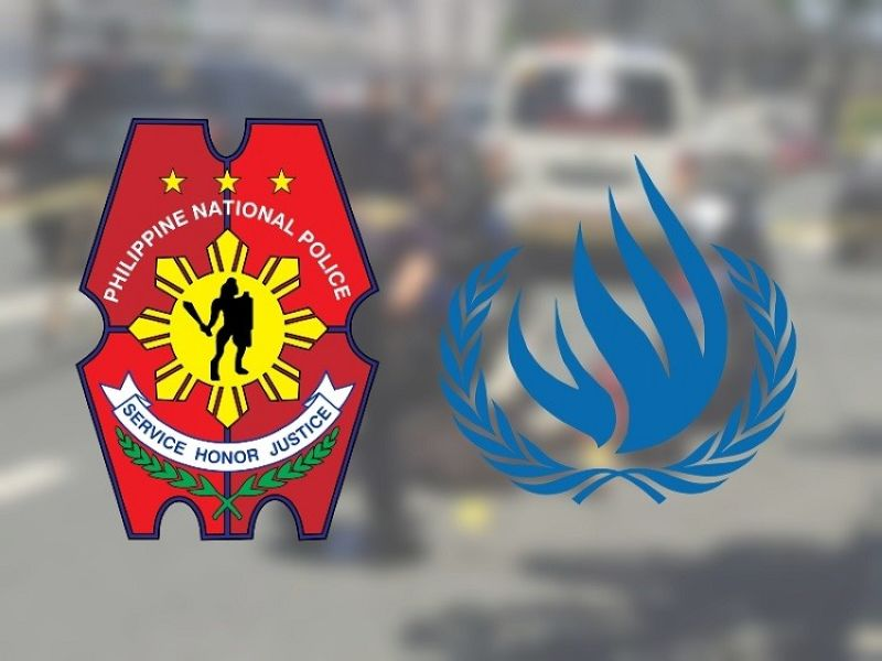 Mga logo sa Philippine National Police ug United Nation Human Rights Council. (SunStar file)