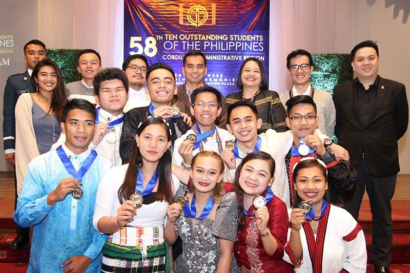 BAGUIO. The top 10most outstanding students of the Cordillera Administrative Region (CAR) during the awarding rites Monday afternoon, July 15, 2019 in Baguio City. (Photo by Jean Nicole Cortes)