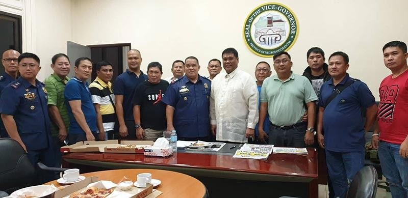 BACOLOD. Members of the Criminal Investigation and Detection Group and Victorias police pay a courtesy call on Vice Governor Jeffrey Ferrer after the session of the Provincial Board Tuesday, July 16, 2019. (Merlinda A. Pedrosa)