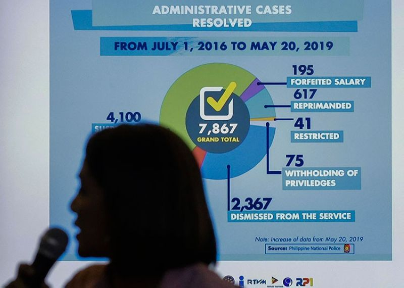 MANILA. Presidential Communications Operations Office Assistant Secretary Marie Rafael Banaag explains a presentation during a news conference in Manila Thursday, July 18, 2019. (AP)