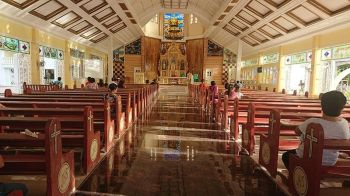 GLOSSY FLOOR. The sight of the glossy tiled floor of the Sto. Niño Roman Catholic Church in Santa Fe town in Bantayan Island, Cebu prompted the family of the bereaved to leave their muddied footwear outside its door. This photo was taken in November 2018. (SunStar Photo/Michelle So) onerror=