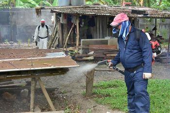 DAVAO. Gipang-ispreyhan sa mga personahe sa Davao City Health Office Tropical Disease Prevention and Control Division ang mga suok-suok nga bahin sa mga balay-balay sa Purok 1, Barangay Mahayag, Bunawan, Davao City kagahapon human mitala og upat ka kaso sa dengue ang lugar kon diin duha niini gipailawom sa obserbasyon. (Macky Lim)