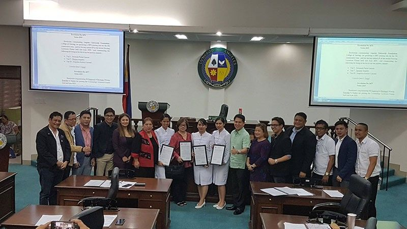 PAMPANGA. Angeles University Foundation College of Nursing (AUF-CON) was recognized by the Angeles City Council headed by Angeles City Vice Mayor Vicky Vega-Cabigting at the City Session Hall recently. AUF-CON garnered a 100% passing rate for the fifth consecutive year and ranked 4th nationwide at the June 2019 Nurse Licensure Exams. AUF-CON's topnotchers also received commendation for securing spots in the top 10 (Top 1, 7 and 10). (AUF Photo)