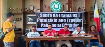 BACOLOD. Leaders of various progressive and peasant groups in Negros Occidental present their anti-Sona activity in a press conference at the Negros Press Club in Bacolod City Friday, July 19, 2019. (Photo by Teresa D. Ellera)