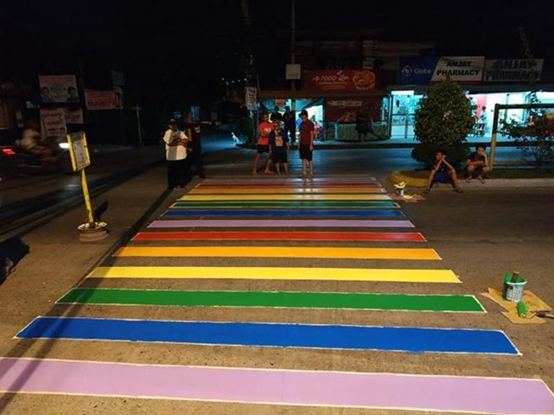 IN PRIDE COLORS. Members of the LGBTQ community in Agdao have painted some of their pedestrian crossings in pride colors as a call to end stigma and discrimination of members of the LGBTQ community. (LGBT Davao)