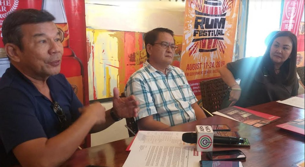 Hotel and Restaurant Association of Negros Occidental president Roberto Magalona (left) presents the activities for this year's Sabor Bisaya during the press conference on the first Tanduay Rum Festival at Cafe Azucarera in Bacolod City yesterday. (Erwin P. Nicavera)