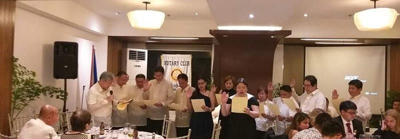 The turn-over of responsibility from immediate past president Philip Araneta to President Ma. Anita Antonette Torrejon.