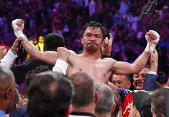 LAS VEGAS , USA. Manny Pacquiao reacts after defeating Keith Thurman by split decision in a welterweight title fight Saturday, July 20, 2019, in Las Vegas. (AP Photo/John Locher)