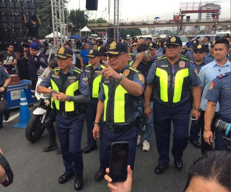 MANILA. Philippine National Police Chief Oscar Albayalde leads the inspection of Commonwealth Avenue, where protests are scheduled to be held in time for President Rodrigo Duterte's State of the Nation Address (Sona) on July 22, 2019. (Photo by Third Anne Peralta-Malonzo)